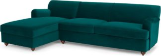 An Image of Orson Left Hand Facing Chaise End Sofa Bed, Velvet Seafoam Blue