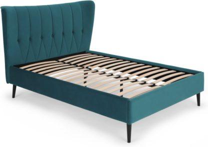 An Image of Charley King Size Bed, Seafoam Blue Velvet