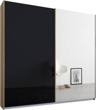 An Image of Malix 2 door 181cm Sliding Wardrobe, Oak frame,Basalt Grey Glass & Mirror doors , Classic Interior