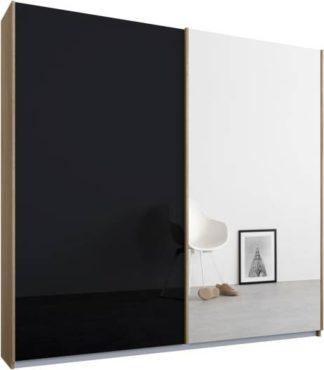 An Image of Malix 2 door 181cm Sliding Wardrobe, Oak frame,Basalt Grey Glass & Mirror doors, Standard Interior