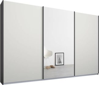 An Image of Malix 3 door 270cm Sliding Wardrobe, Graphite Grey frame,Matt White & Mirror doors, Standard Interior