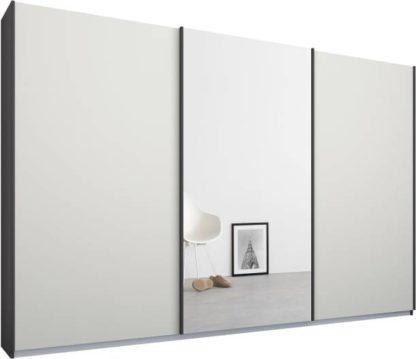 An Image of Malix 3 door 270cm Sliding Wardrobe, Graphite Grey frame,Matt White & Mirror doors, Standard Interior