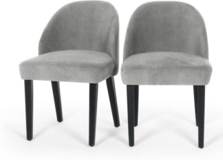 An Image of Set of 2 Alec Dining Chairs, Quilted Grey