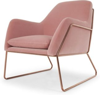 An Image of Frame Armchair, Blush Pink Cotton Velvet with Copper Frame