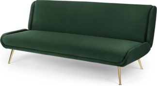 An Image of Moby Click Clack Sofa Bed, Velvet Pine Green with Brass Leg
