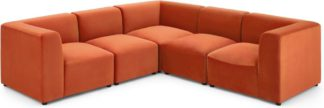 An Image of Juno 5 Seater Corner Sofa, Flame Orange Velvet