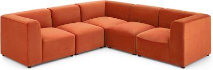 An Image of Juno 5 Seater Corner Sofa, Flame Orange Velvet
