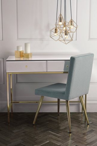 An Image of Stiletto Toughened White Glass and Brass Console Table
