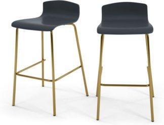 An Image of Set of 2 Syrus Barstools, Grey and Brass