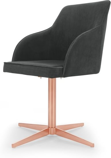 An Image of Keira Office Chair, Midnight Grey Velvet and Copper