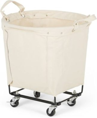 An Image of Dennie Canvas Round Laundry Cart, Black & Cream