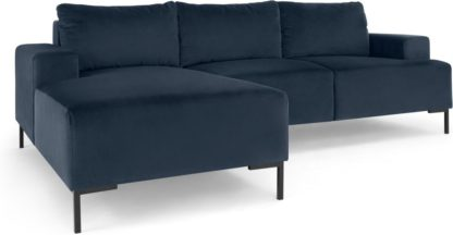 An Image of Frederik 3 Seater Left Hand Facing Compact Corner Chaise End Sofa, Sapphire Blue Velvet