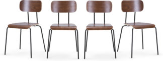 An Image of Set of 4 Haywood Dining Chairs, Walnut and Black
