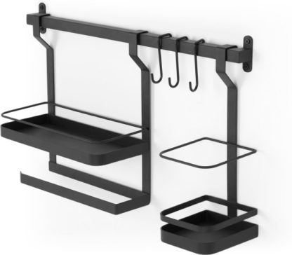 An Image of Tomas Wall Mounted Metal Kitchen Storage Rack, Black
