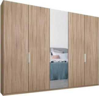 An Image of Caren 5 door 250cm Hinged Wardrobe, Oak Frame, Oak & Mirror Doors, Standard Interior