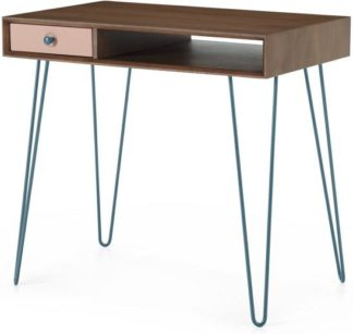 An Image of Dotty Compact desk, Dark Stain and Pink