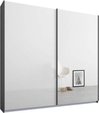 An Image of Malix 2 door 181cm Sliding Wardrobe, Graphite Grey frame,White Glass & Mirror doors , Premium Interior