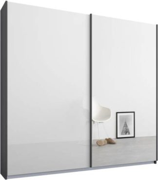 An Image of Malix 2 door 181cm Sliding Wardrobe, Graphite Grey frame,White Glass & Mirror doors, Standard Interior
