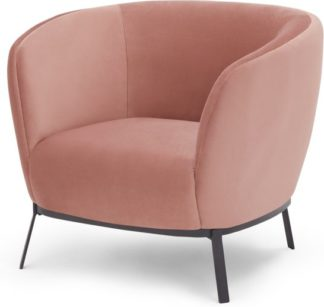 An Image of Belle Accent Armchair, Blush Pink Velvet