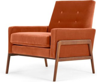 An Image of Cecil Accent Armchair, Cotton Velvet Burnt Orange
