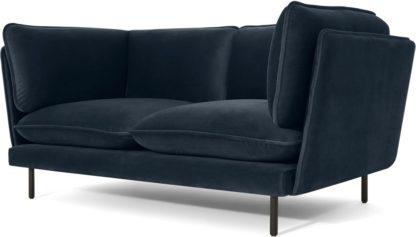 An Image of Wes 2 Seater Sofa, Sapphire Blue Velvet