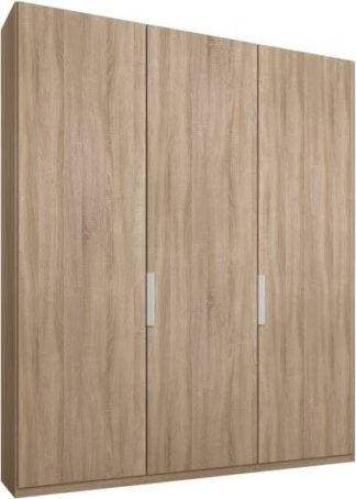 An Image of Caren 3 door 150cm Hinged Wardrobe, Oak Frame, Oak Doors, Standard Interior