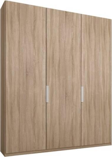 An Image of Caren 3 door 150cm Hinged Wardrobe, Oak Frame, Oak Doors, Standard Interior