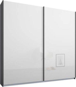 An Image of Malix 2 door 181cm Sliding Wardrobe, Graphite Grey frame,White Glass doors , Premium Interior
