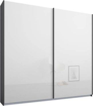 An Image of Malix 2 door 181cm Sliding Wardrobe, Graphite Grey frame,White Glass doors, Standard Interior