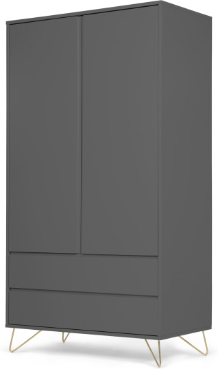 An Image of Elona Wardrobe, Charcoal & Brass