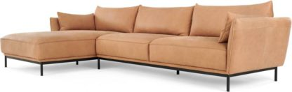 An Image of Odelle, Left Hand Facing Chaise End Corner Sofa, Tan Leather