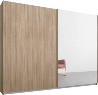 An Image of Malix 2 door 225cm Sliding Wardrobe, Oak frame,Oak & Mirror doors, Standard Interior