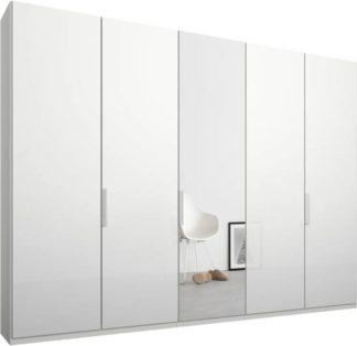 An Image of Caren 5 door 250cm Hinged Wardrobe, White Frame, White Glass & Mirror Doors, Premium Interior