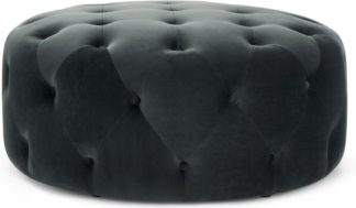 An Image of Hampton Large Round Pouffe, Midnight Grey Velvet