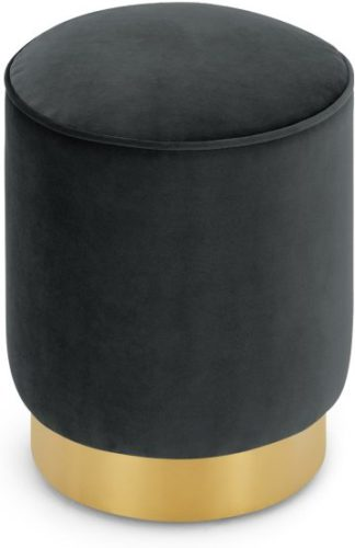 An Image of Hetherington Small Brass Base Pouffe, Midnight Grey Velvet
