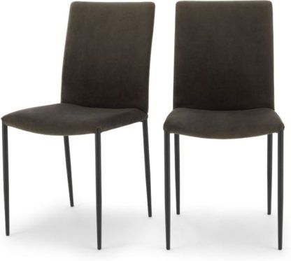 An Image of Set of 2 Braga Dining Chairs, Otter Grey Velvet