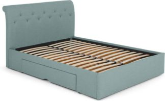 An Image of Linnell Double Bed with Drawer Storage, Bondi Blue Weave