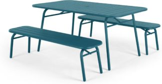 An Image of MADE Essentials Tice Garden Dining Bench Set, Teal