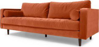 An Image of Scott 3 Seater Sofa, Burnt Orange Cotton Velvet