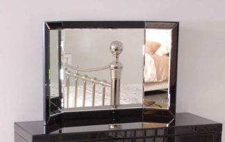 An Image of ELLY Black Glass Triple Folding Mirror