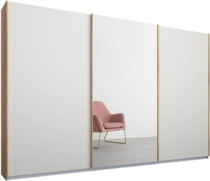 An Image of Malix 3 door 270cm Sliding Wardrobe, Oak frame,Matt White & Mirror doors, Standard Interior