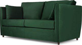 An Image of Milner Sofa Bed with Memory Foam Mattress, Bottle Green Velvet