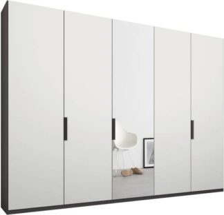An Image of Caren 5 door 250cm Hinged Wardrobe, Graphite Grey Frame, Matt White & Mirror Doors, Standard Interior