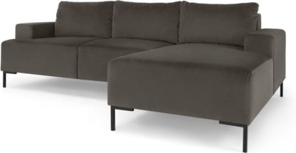 An Image of Frederik 3 Seater Right Hand Facing Compact Corner Chaise End Sofa, Otter Velvet