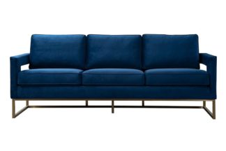 An Image of Kenza Three Seat Sofa – Blue