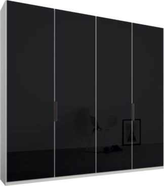 An Image of Caren 4 door 200cm Hinged Wardrobe, White Frame, Basalt Grey Glass Doors, Standard Interior
