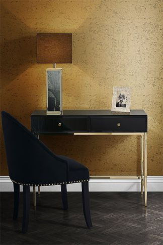 An Image of Stiletto Toughened Black Glass and Brass Console Table