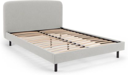 An Image of MADE Essentials Besley Double Bed, Hail Grey