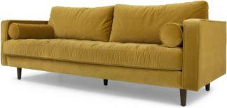 An Image of Scott 3 Seater Sofa, Gold Cotton Velvet