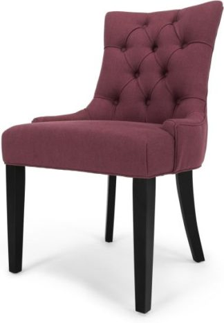 An Image of Flynn Scoop Back Dining Chair, Merlot Red and Black